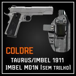 Coldre Magnum Velado Interno Iwb em kydex - MD1N, M911A1 - 1911 (sem trilho tático)