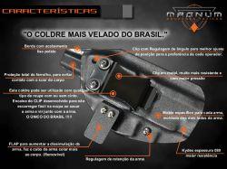 Coldre Magnum Velado Interno Iwb em kydex - TAURUS G2C
